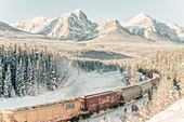 Train passing Morant´s Curve, Banff Town, Bow Valley, Banff National Park, Alberta, canada, north america