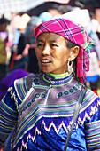 Portrait, vietnamese woman, Bac Ha market, Lao Cai, Vietnam