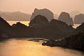 sunset, sea, Halong Bay, Vietnam
