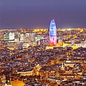 Barcelona Skyline with Torre Agbar Tower, Barcelona, Catalonia, Spain, Europe