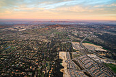 Aerial over Encinitas from a hot air balloon, California, United States of America, North America