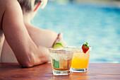 Cocktails at poolside