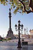 Kolumbus-Denkmal (Monument a Colom), Placa del Portal de la Pau, Barcelona, Katalonien, Spanien, Europa