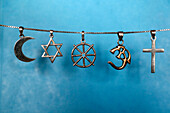 Symbols of Islam, Judaism, Buddhism, Hinduism and Christianity, Eure, France, Europe