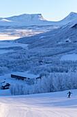 Alpine skiing on the Lappish slopes, Bjorkliden, Norbottens Ian, Sweden,Europe