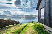 Rustic wooden cabin on Faroe Islands, Denmark