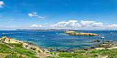 Panoramic view from the Ile de Porquerolles (Ile de Porquerolles, Hyeres, Toulon, Var department, Provence-Alpes-Cote d'Azur region, France, Europe)
