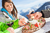 a snapshot during a lunch break out of a hut with typical food from Trentino, Trento province, Trentino Alto Adige, Italy, Europe
