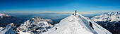 Panoramic on top of mountain (cima Bonze) close to amphitheater moraine on Aosta Valley entrance, Piedmont, Italy