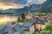The austrian village of Hallstatt and the lake, Upper Austria, Salzkammergut region, Austria