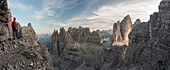Sesto/Sexten, Dolomites, South Tyrol, province of Bolzano, Italy, View from a recovery of the First World War on Tre Cime/Drei Zinner and Croda Passaporto