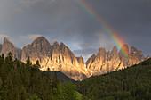 Rainbow on the Odle dolomites, Funes valley, South Tyrol region, Trentino Alto Adige, Bolzano province, Italy, Europe
