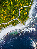 Aerial drone view of rocky shore and footpath in Rhode Island
