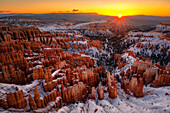 Majestic scenery of rock hoodoos in Bryce Canyon National Park in winter at sunrise, Utah, USA