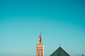 Photograph of Koutoubia Mosque minaret under clear sky, Marrakech, Morocco