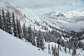 A woman making some fresh turns. Solitude, Utah