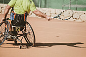 Austrian paralympic tennis player practicing on tennis court