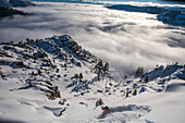 Skier Descend On Snowy Slope Region In Lake Tahoe, California, Use