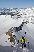 Person Hiking On Snowy Region In Lake Tahoe, California, Use