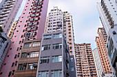Looking up at apartment buildings, Happy Valley, Hong Kong.