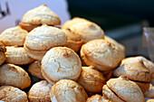 Closeup on almond macaroons.