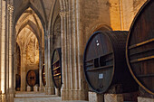 France, Southern France, Vileveyrac, Cistercian abbey of Holy Mary of Valmagne, 13th century, gothic style, nave turned into a wine storehouse after the Revolution