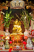 France. Paris 13th district. Parisian Chinatown. Altar of the Buddhist temple of the Association of the Residents in France of Indo-Chinese origin. Rue du Disque. Olympiades district