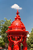 France. Paris 13th district. Avenue d'Ivry. Red Wallace fountain