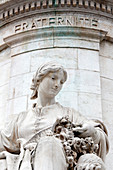 France, Paris. Place de la Republique. Statue of the Republic. Statue representing Brotherhood.