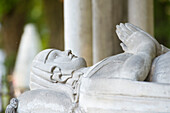 France, Paris 20th district. Pere Lachaise cemetery. Grave of Heloise and Abelard. The recumbent statue of Heloise of Argenteuil (1092-1164)