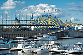 Canada. Province of Quebec, Montreal. The old port. The marina and the Big Top of the Cirque du Soleil
