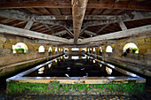 France, Bourg sur Gironde, medieval washhouse, pond and towering frame
