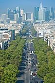 France. Paris 16th district. Area of Place de l'Etoile. Avenue de la Grande Armée. In the background: buildings of La Defense