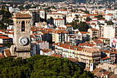 France, Southern France, Cannes, Bell tower of Notre Dame de L'esperance church and Clocktower of the Suquet