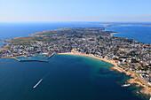 France, Western France, aerial view of Quiberon peninsula. Quiberon.