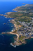 France, Western France, aerial view of Quiberon peninsula. Castle of Quiberon and the wild coast in the background.
