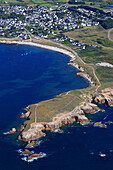 France, Western France, aerial view of Quiberon peninsula. Wild coast.