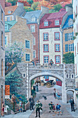 'Canada, Province of Quebec. Quebec town. Old city. Notre Dame street. ''The fresco of the Quebeckers'''