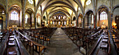 France, Ariege, panoramic view of the interior of the Cathedral of Mirepoix