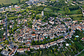 France, Lot, aerial view of the village of Montcuq