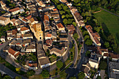 France, Lot, aerial view of Montcuq and its church