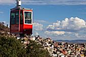 Mexico, Zacatecas state, Zacatecas, Cerro de la Bufa Cable cable car and General view of Zacatecas, Unesco World Heritage