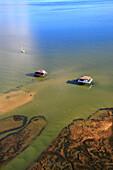 France, Gironde. Arcachon Bay. Bird Island. Cabin built on stilts.