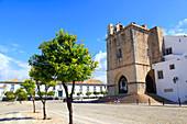 Portugal, Algarve. Faro. Igreja da Se cathedral. Miradouro de Santo Antonio. Squre and episcopal palace.