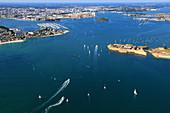 France, Brittany, Morbihan. Lorient. Port Louis citadel. Aerial view.