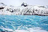 Blue glacier ice on Svinafellsjokull, a tongue of the vast Vatnajokull Glacier, near Skaftafell, South Iceland, Polar Regions
