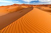 Weitwinkelansicht der Wellen und Dünen des Erg Chebbi Sand Meer, Teil der Sahara in der Nähe von Merzouga, Marokko, Nordafrika, Afrika