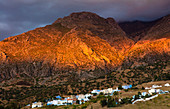 Mountains bathed in evening light, near Chefchaouen ,Chaouen, Morocco, North Africa, Africa