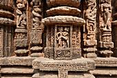 Erotic stone carved work on Konark Sun Temple ,Black Pagoda, 13th century Hindu temple built as a massive chariot for the sun god Surya, UNESCO World Heritage Site, Konarak, Odisha, India, Asia