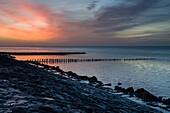 Dawn at the Jade Bay, Wattenmeer National Park, German North Sea, Wilhelmshaven, Lower Saxony, Germany